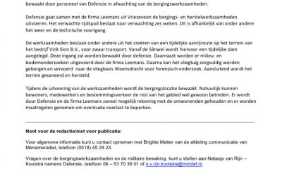 Persbericht Ministerie van Defensie over de Berging van de F-5, 20 juni 2016